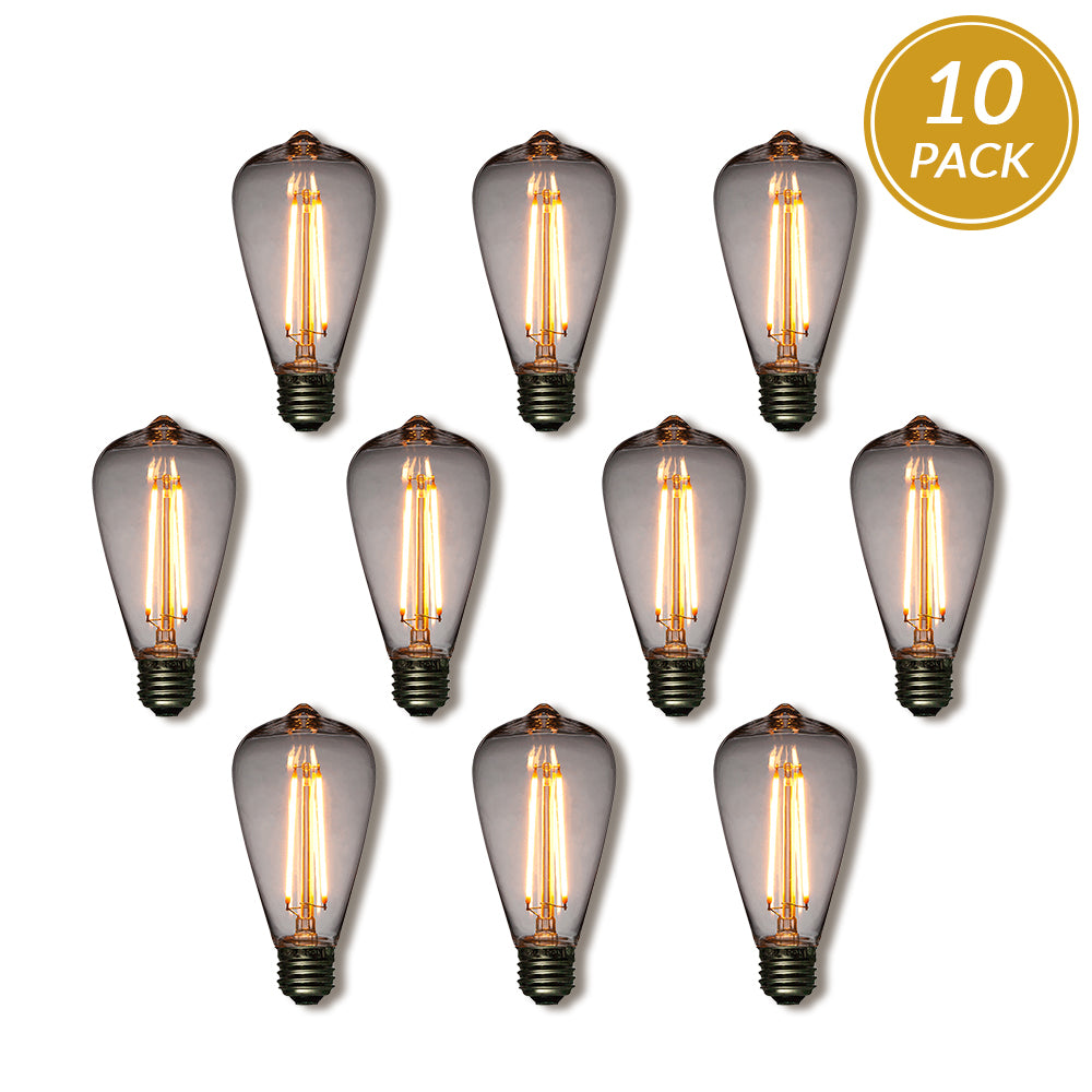 10-Pack LED Filament ST64 Shatterproof Light Bulb, Dimmable, 2W,  E26 Medium Base