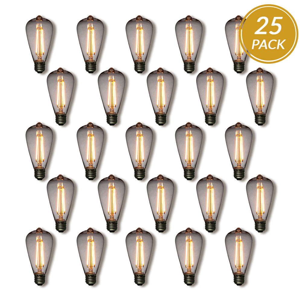 25-Pack LED Filament ST64 Shatterproof Light Bulb, Dimmable, 2W,  E26 Medium Base