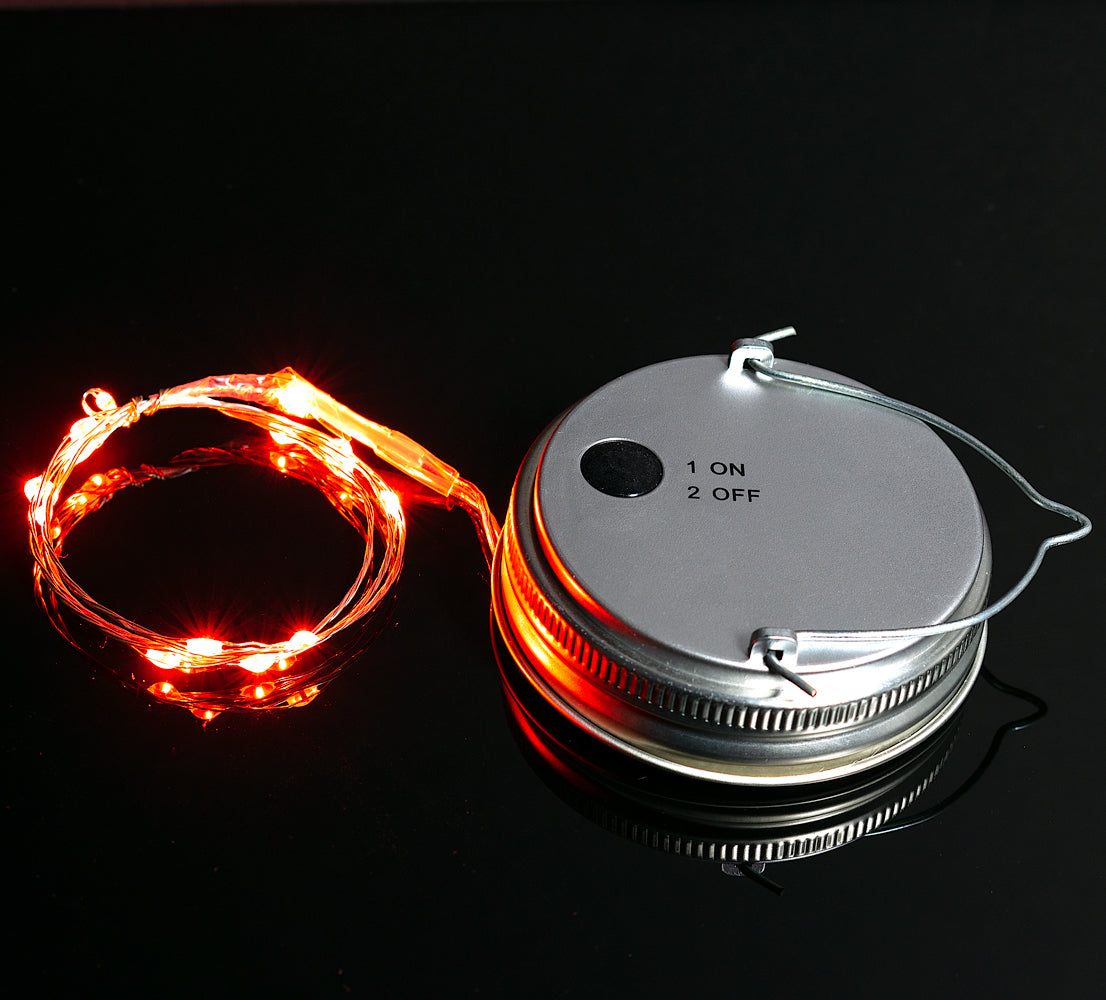 BLOWOUT MoonBright™ LED Mason Jar Lights, Battery Powered for Regular Mouth - Orange (Lid Light Only)
