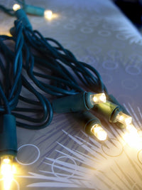 BLOWOUT 70 Outdoor Warm White LED 5mm Polka Dot String Lights, 23.6 FT Green Cord, Weatherproof, Expandable