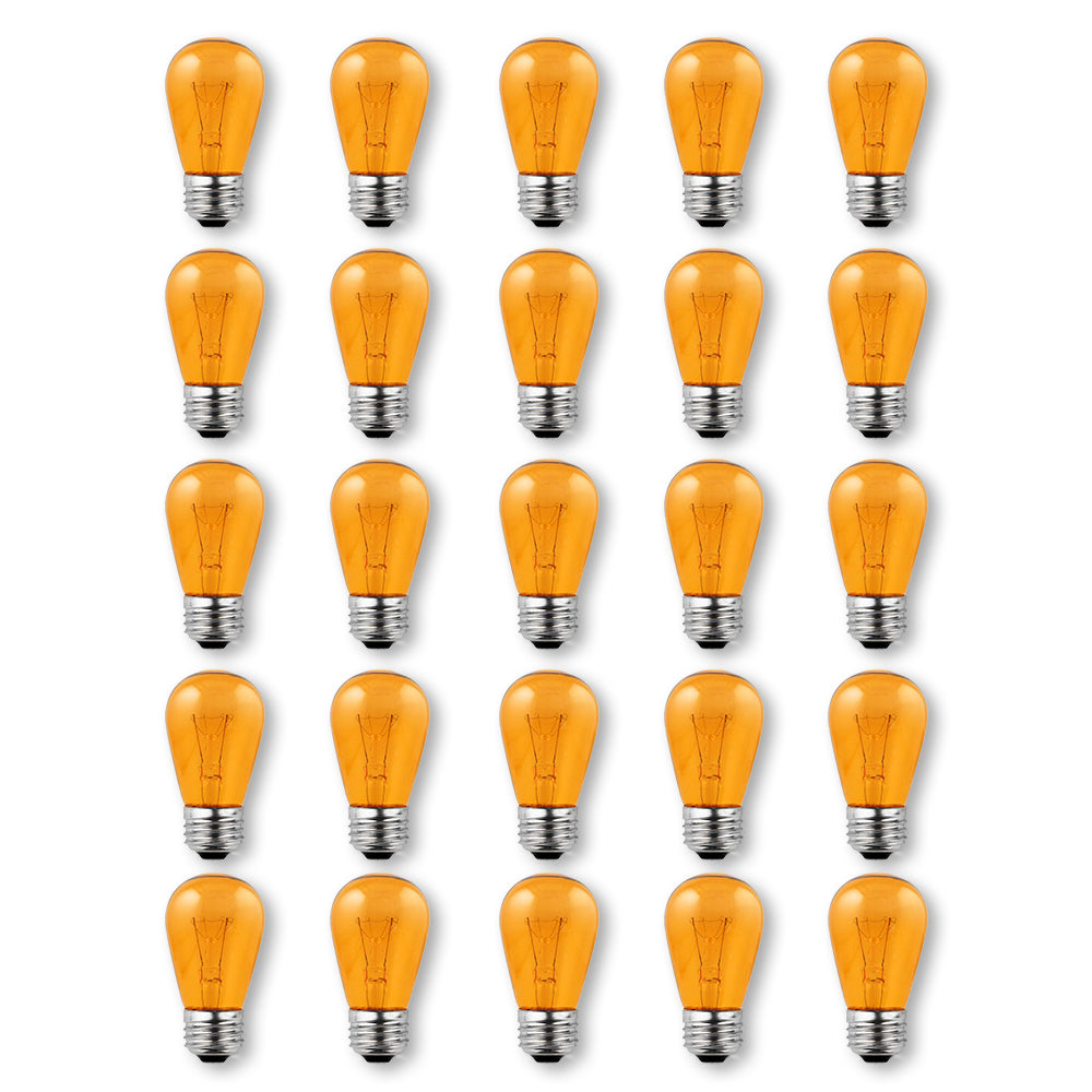 Replacement Transparent Orange 11-Watt Incandescent S14 Sign Light Bulbs, E26 Medium Base (25 PACK)