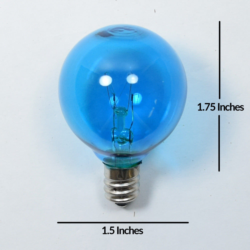 Replacement Transparent Blue 7-Watt Incandescent G40 Globe Light Bulbs, E12 Candelabra Base (25 PACK)