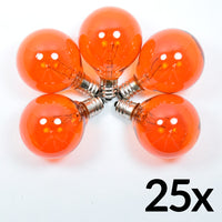 Replacement Transparent Orange 7-Watt Incandescent G40 Globe Light Bulbs, E12 Candelabra Base (25 PACK)