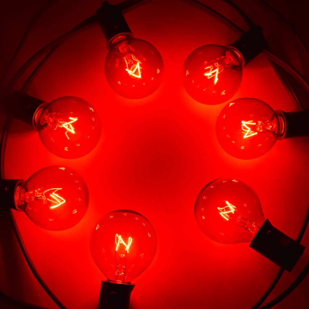 Replacement Transparent Red 7-Watt Incandescent G40 Globe Light Bulbs, E12 Candelabra Base (25 PACK)