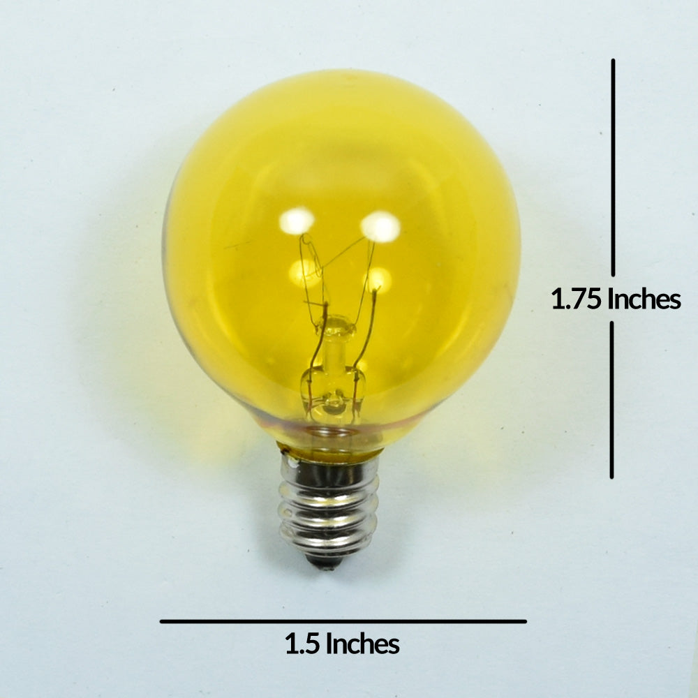 Replacement Transparent Yellow 7-Watt Incandescent G40 Globe Light Bulbs, E12 Candelabra Base (25 PACK)