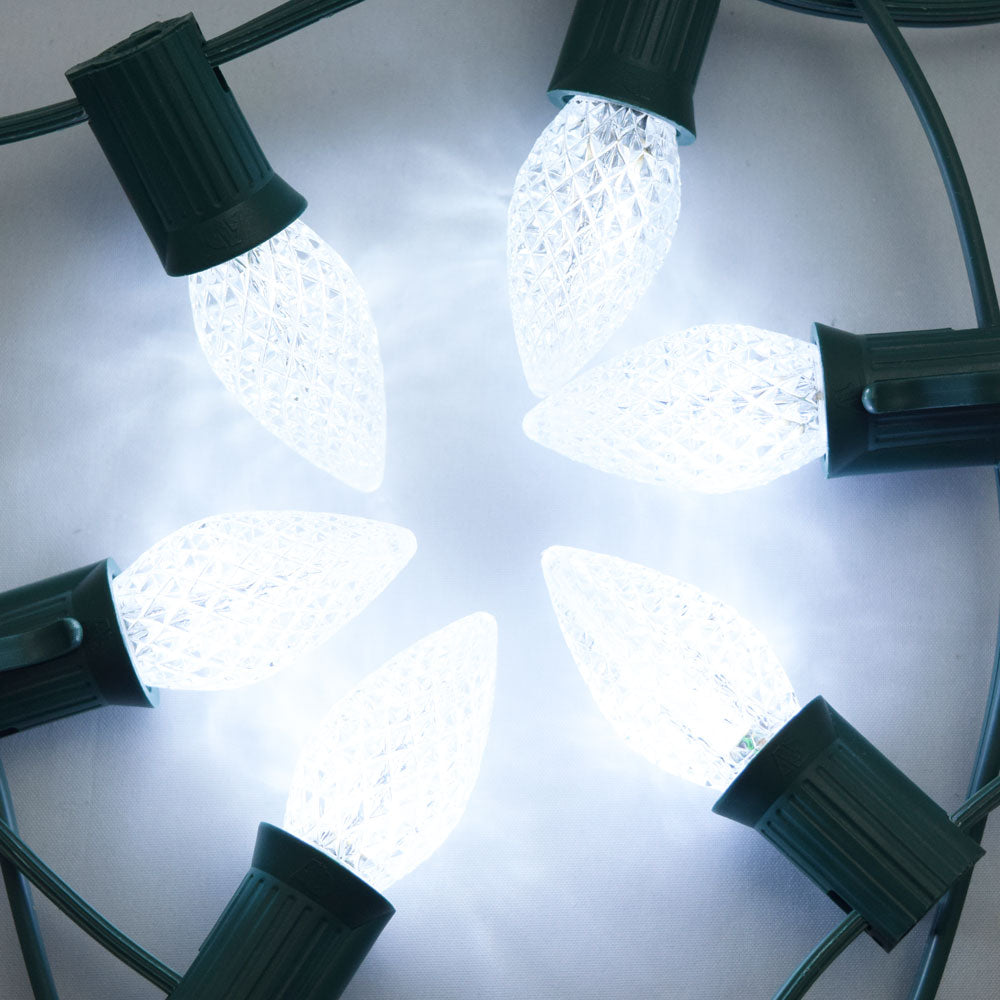 Replacement Cool White 3 LED C7 Faceted Christmas Light Bulbs, E12 Candelabra Base (25 PACK)
