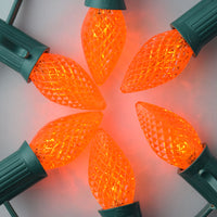 BLOWOUT Replacement Orange 3 LED C7 Faceted Christmas Light Bulbs, E12 Base (25 PACK)