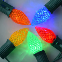 Replacement Multi-Color RGB 3 LED C7 Faceted Christmas Light Bulbs, E12 Candelabra Base (25 PACK)