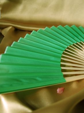 "BULK PACK (50) 9"" Light Lime Green Silk Hand Fans for Weddings"