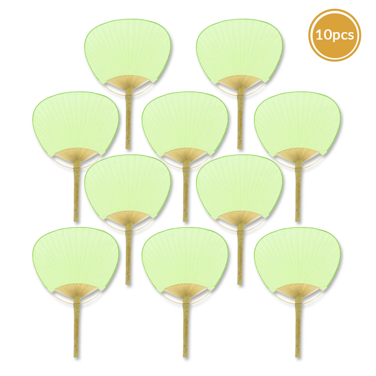 "BLOWOUT 9"" Light Lime Green Paddle Paper Hand Fans for Weddings (10 Pack)"