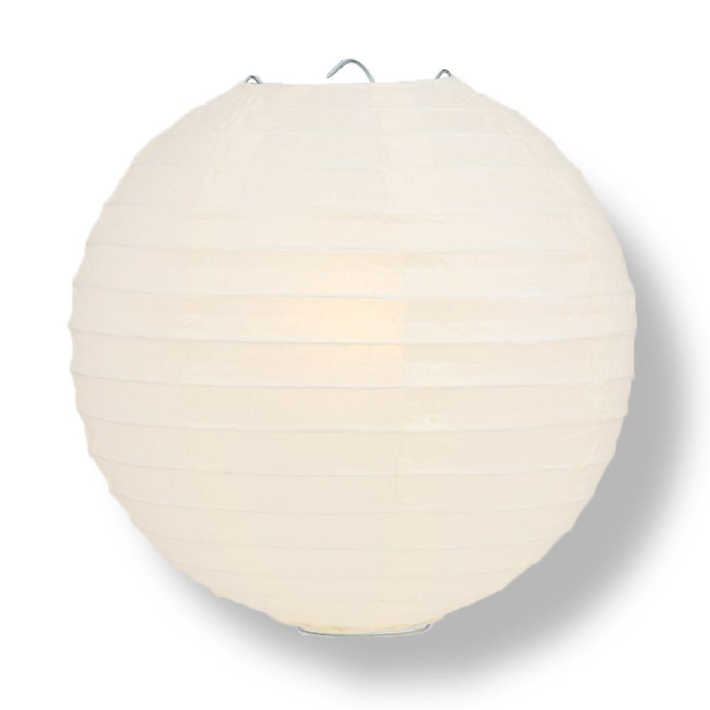 "14"" Beige / Ivory Round Paper Lantern, Even Ribbing, Chinese Hanging Wedding & Party Decoration"