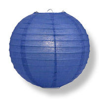 "8"" Dark Blue Round Paper Lantern, Even Ribbing, Chinese Hanging Wedding & Party Decoration"