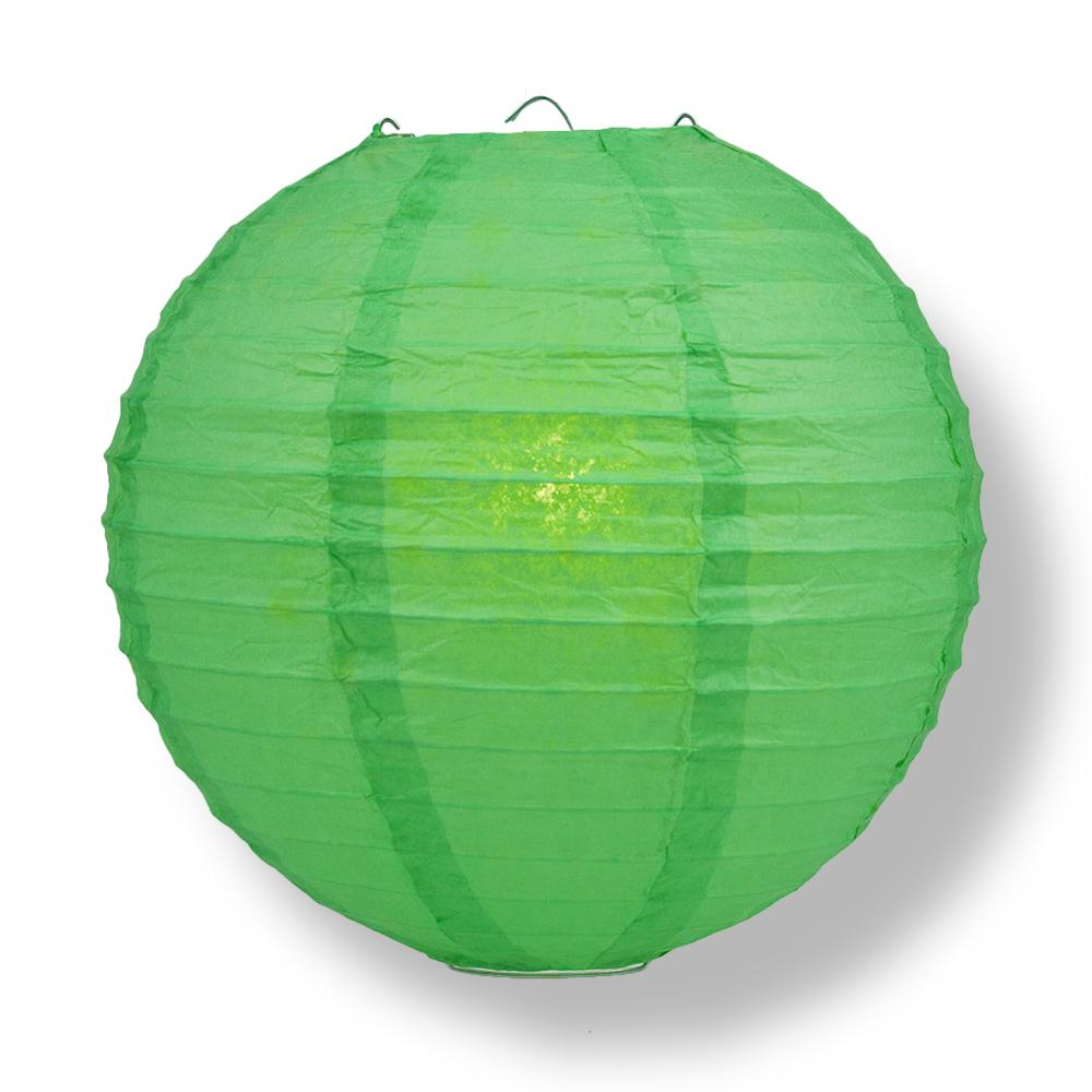 "8"" Emerald Green Round Paper Lantern, Even Ribbing, Chinese Hanging Wedding & Party Decoration"