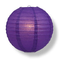 "30"" Royal Purple Jumbo Round Paper Lantern, Even Ribbing, Chinese Hanging Wedding & Party Decoration"
