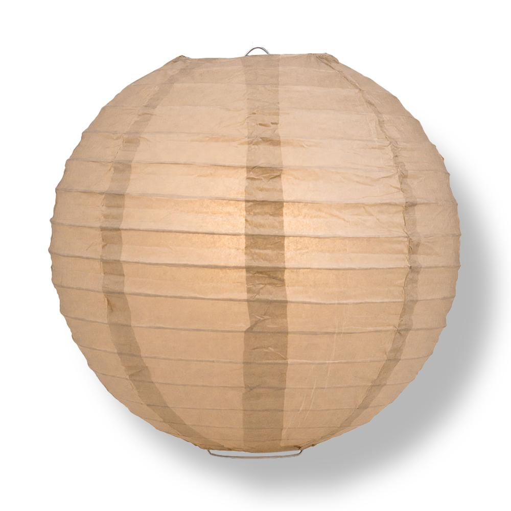 "16"" Mocha / Light Brown Round Paper Lantern, Even Ribbing, Chinese Hanging Wedding & Party Decoration"