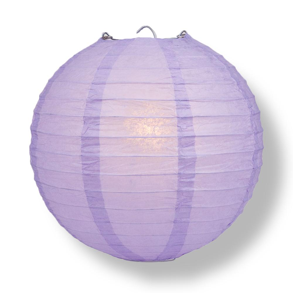 "16"" Lavender Round Paper Lantern, Even Ribbing, Chinese Hanging Wedding & Party Decoration"