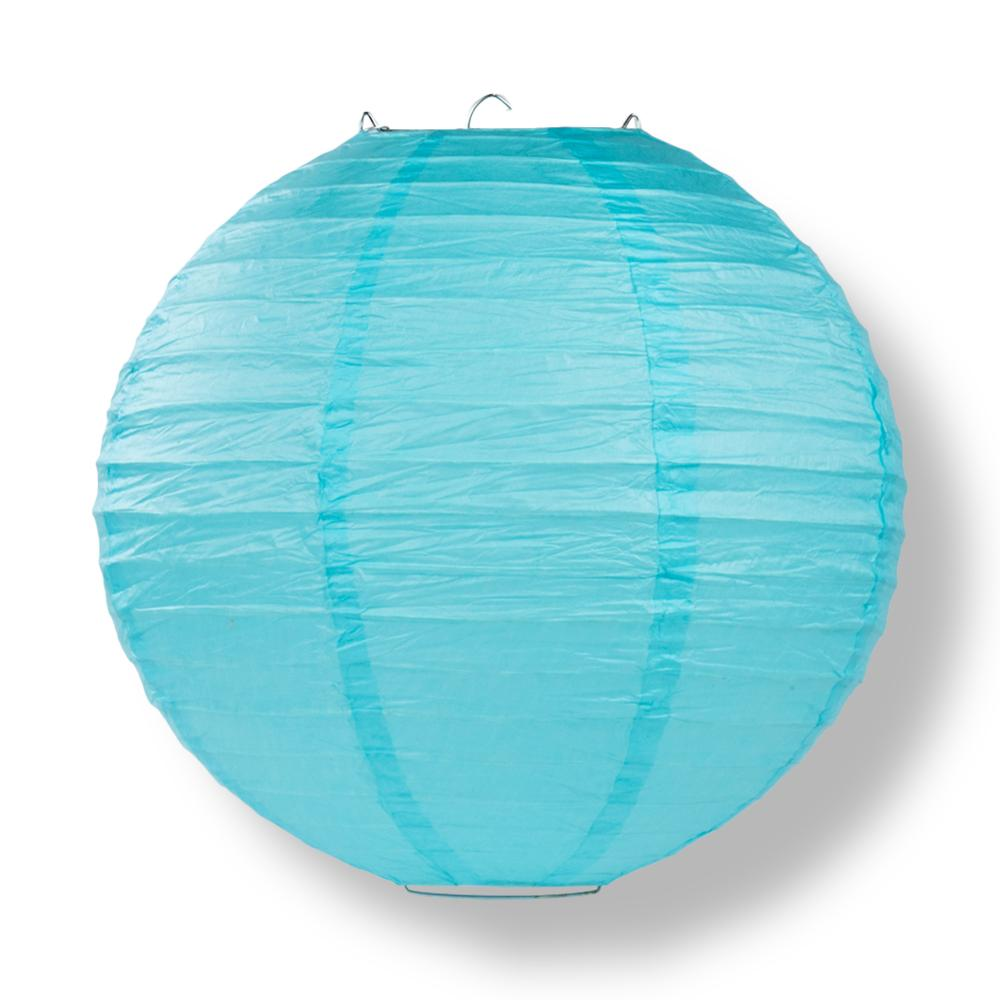 "14"" Baby Blue Round Paper Lantern, Even Ribbing, Chinese Hanging Wedding & Party Decoration"