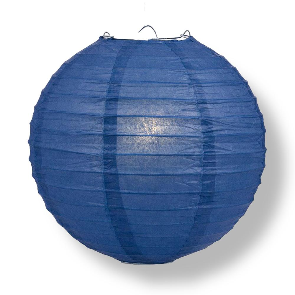 "16"" Navy Blue Round Paper Lantern, Even Ribbing, Chinese Hanging Wedding & Party Decoration"