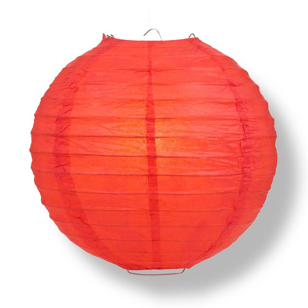 "24"" Red Round Paper Lantern, Even Ribbing, Chinese Hanging Wedding & Party Decoration"