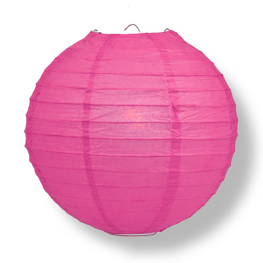 "14"" Fuchsia / Hot Pink Round Paper Lantern, Even Ribbing, Chinese Hanging Wedding & Party Decoration"