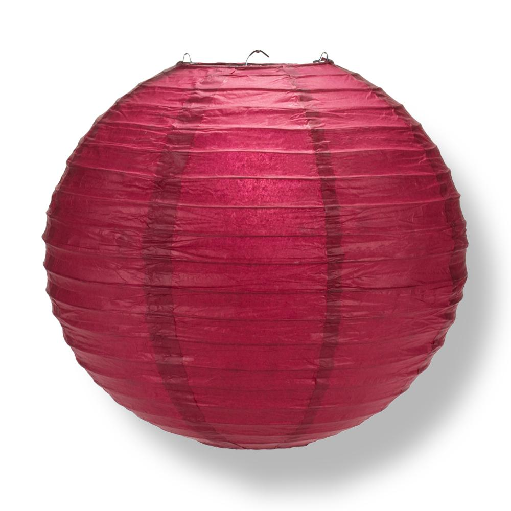 "6"" Velvet Red Round Paper Lantern, Even Ribbing, Chinese Hanging Wedding & Party Decoration"