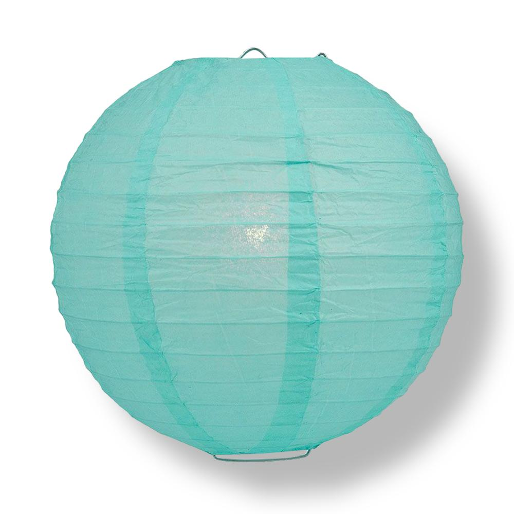 "16"" Water Blue Round Paper Lantern, Even Ribbing, Chinese Hanging Wedding & Party Decoration"