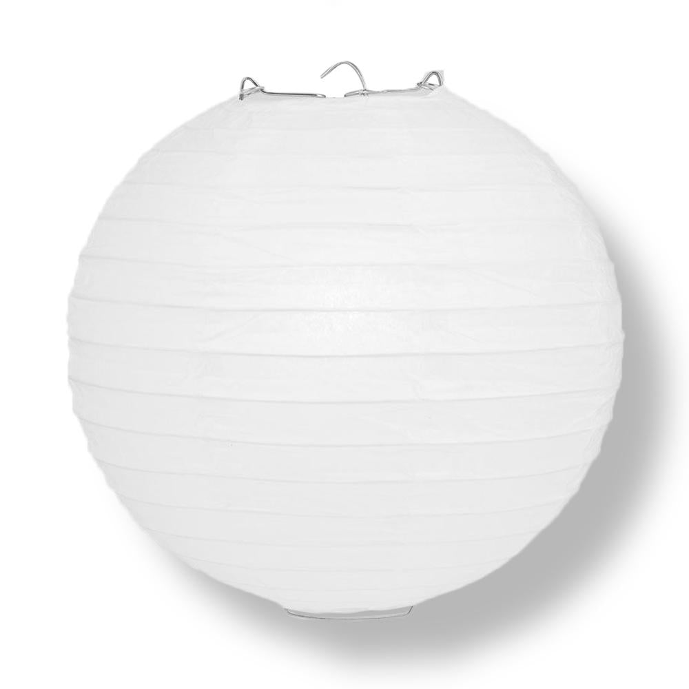 "14"" White Round Paper Lantern, Even Ribbing, Chinese Hanging Wedding & Party Decoration"