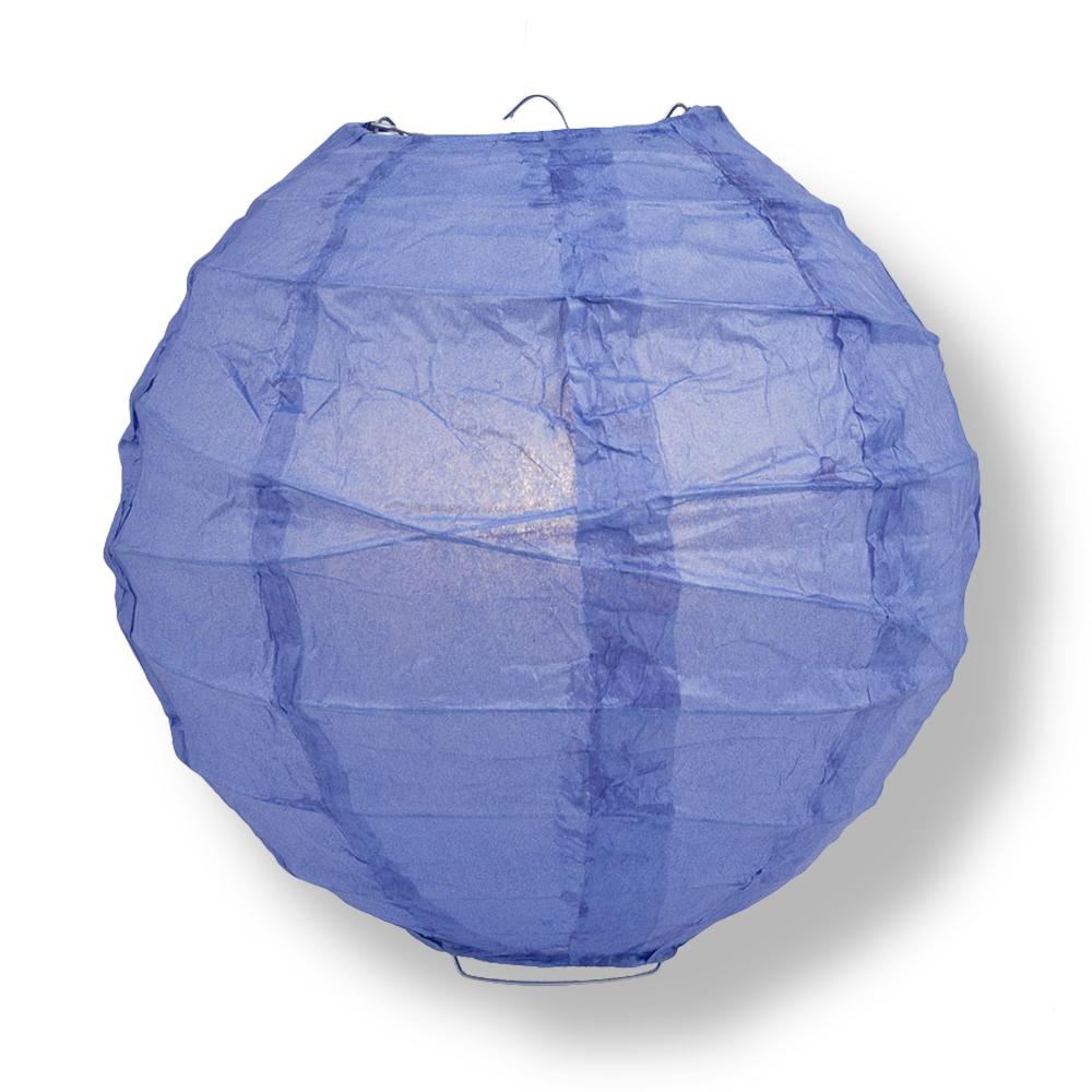 "6"" Astra Blue Round Paper Lantern, Crisscross Ribbing, Chinese Hanging Wedding & Party Decoration"