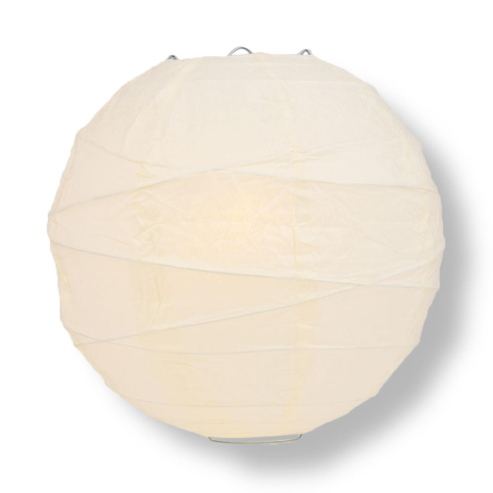 "30"" Beige / Ivory Jumbo Round Paper Lantern, Crisscross Ribbing, Chinese Hanging Wedding & Party Decoration - PaperLanternStore.com - Paper Lanterns, Decor, Party Lights & More"