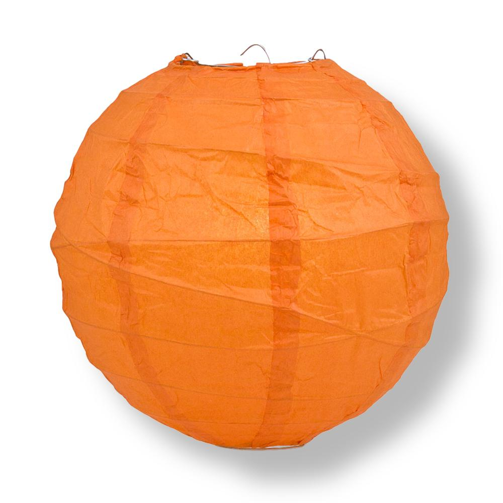 "8"" Persimmon Orange Round Paper Lantern, Crisscross Ribbing, Chinese Hanging Wedding & Party Decoration"
