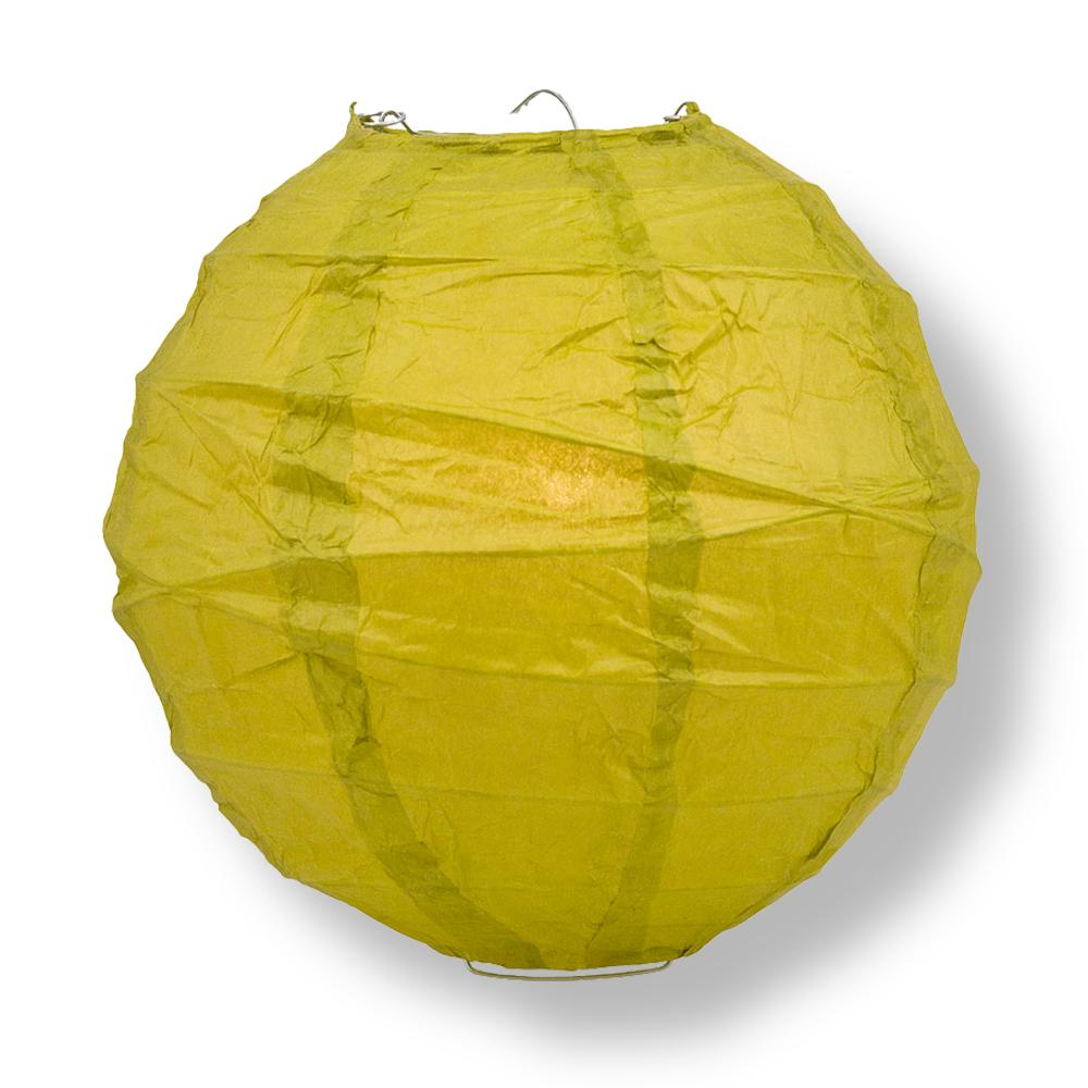 "8"" Chartreuse Yellow Green Round Paper Lantern, Crisscross Ribbing, Chinese Hanging Wedding & Party Decoration"