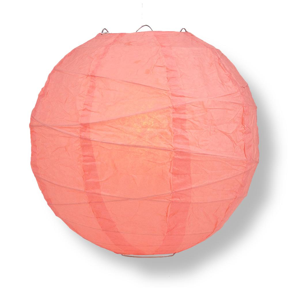"8"" Roseate / Pink Coral Round Paper Lantern, Crisscross Ribbing, Chinese Hanging Wedding & Party Decoration"