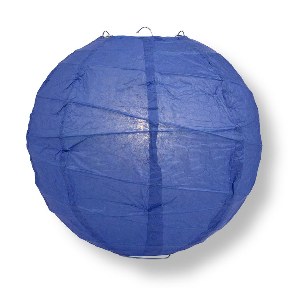 "6"" Dark Blue Round Paper Lantern, Crisscross Ribbing, Chinese Hanging Wedding & Party Decoration"