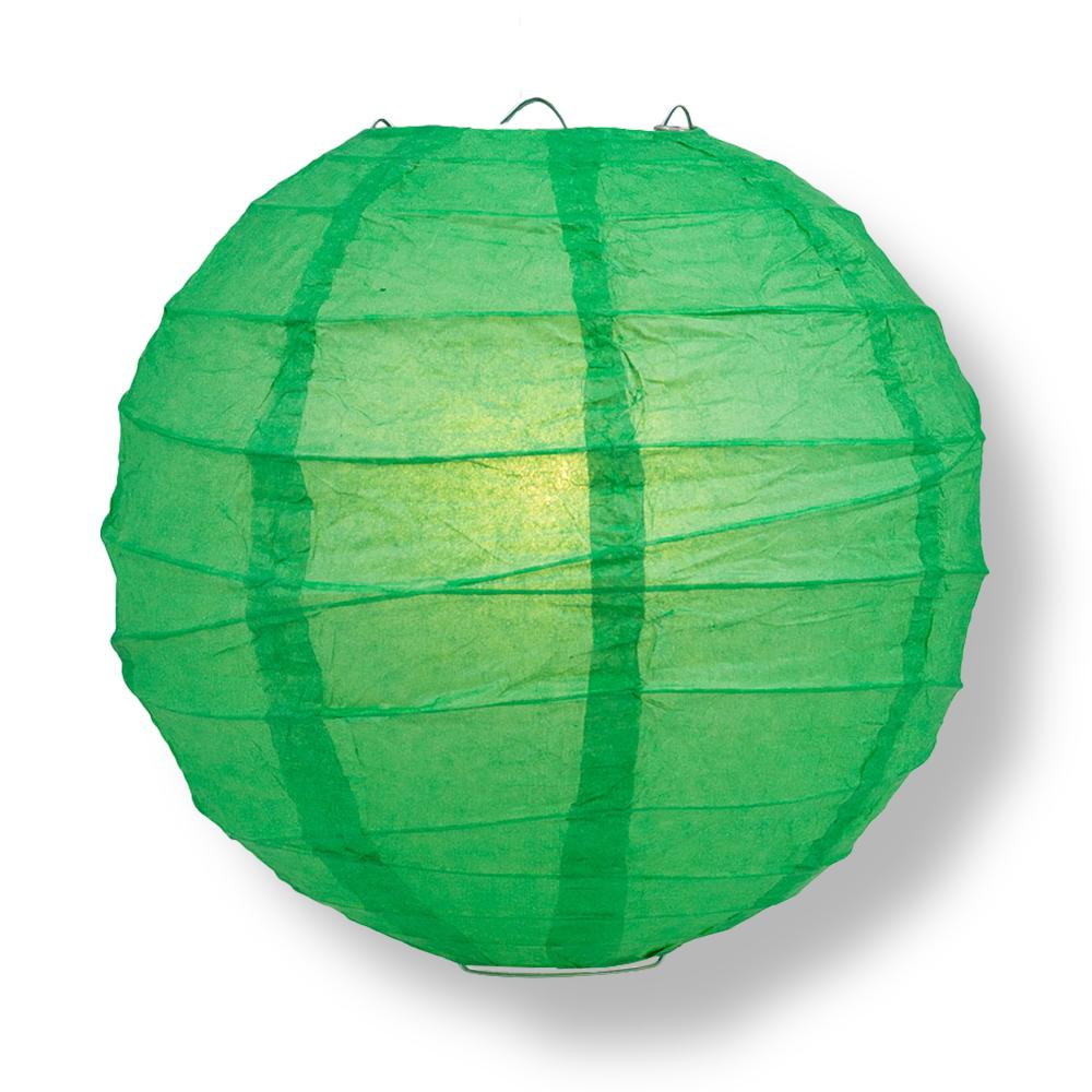 "6"" Emerald Green Round Paper Lantern, Crisscross Ribbing, Chinese Hanging Wedding & Party Decoration"