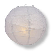 "8"" Gray / Grey Round Paper Lantern, Crisscross Ribbing, Chinese Hanging Wedding & Party Decoration"