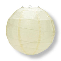 "20"" Ivory Round Paper Lantern, Crisscross Ribbing, Chinese Hanging Wedding & Party Decoration"