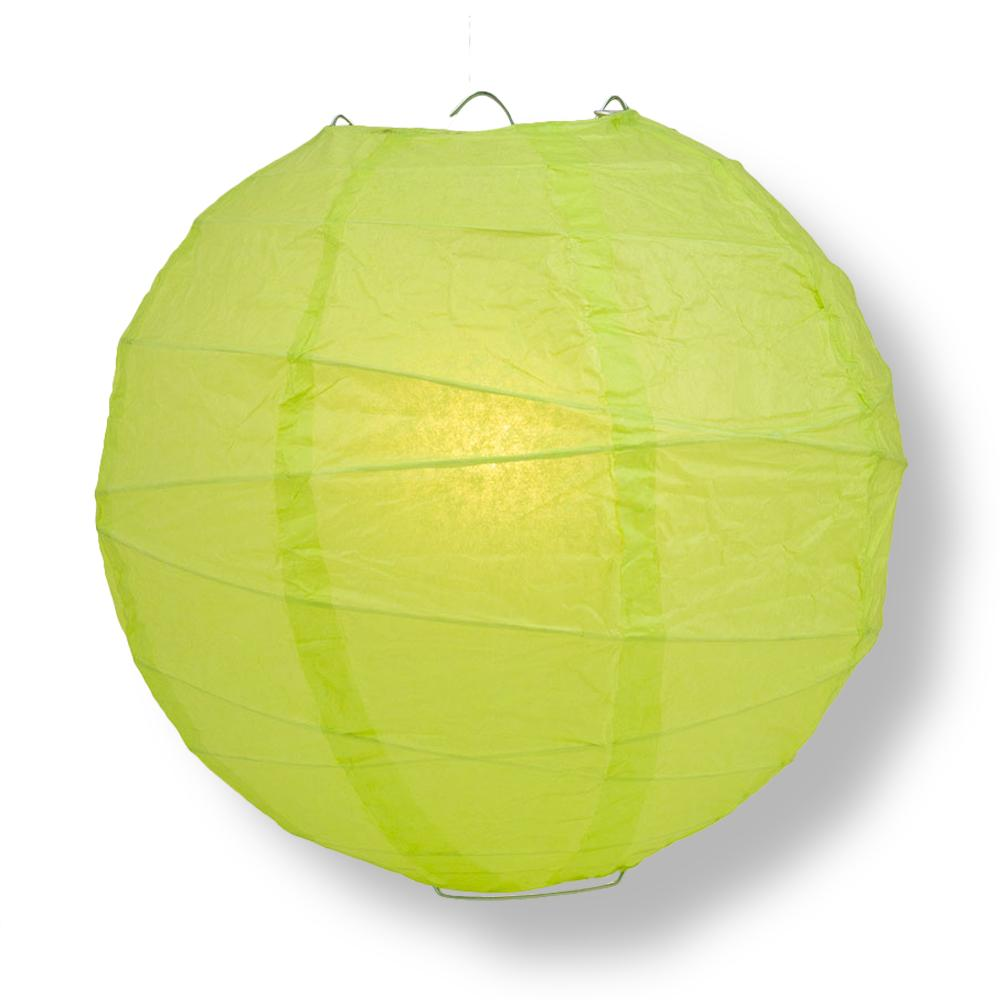 "14"" Light Lime Green Round Paper Lantern, Crisscross Ribbing, Chinese Hanging Wedding & Party Decoration"