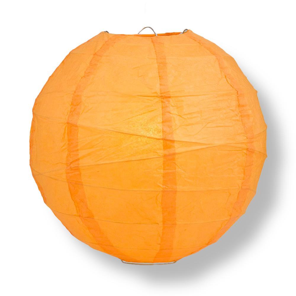 "6"" Orange Round Paper Lantern, Crisscross Ribbing, Hanging Decoration"
