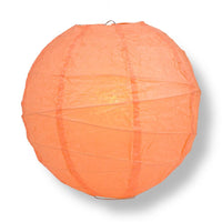 "6"" Peach / Orange Coral Round Paper Lantern, Crisscross Ribbing, Chinese Hanging Wedding & Party Decoration"