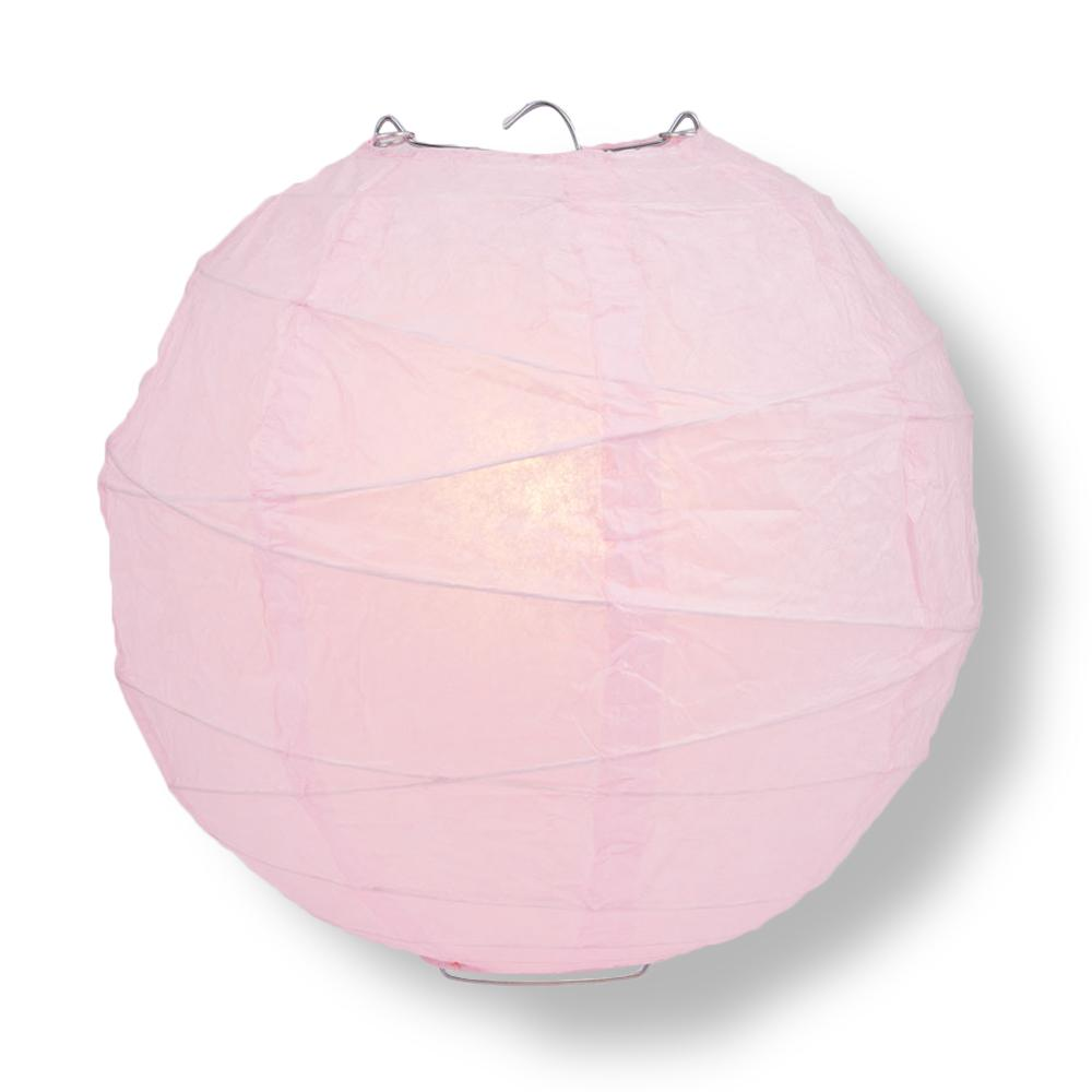 "6"" Pink Round Paper Lantern, Crisscross Ribbing, Hanging Decoration"