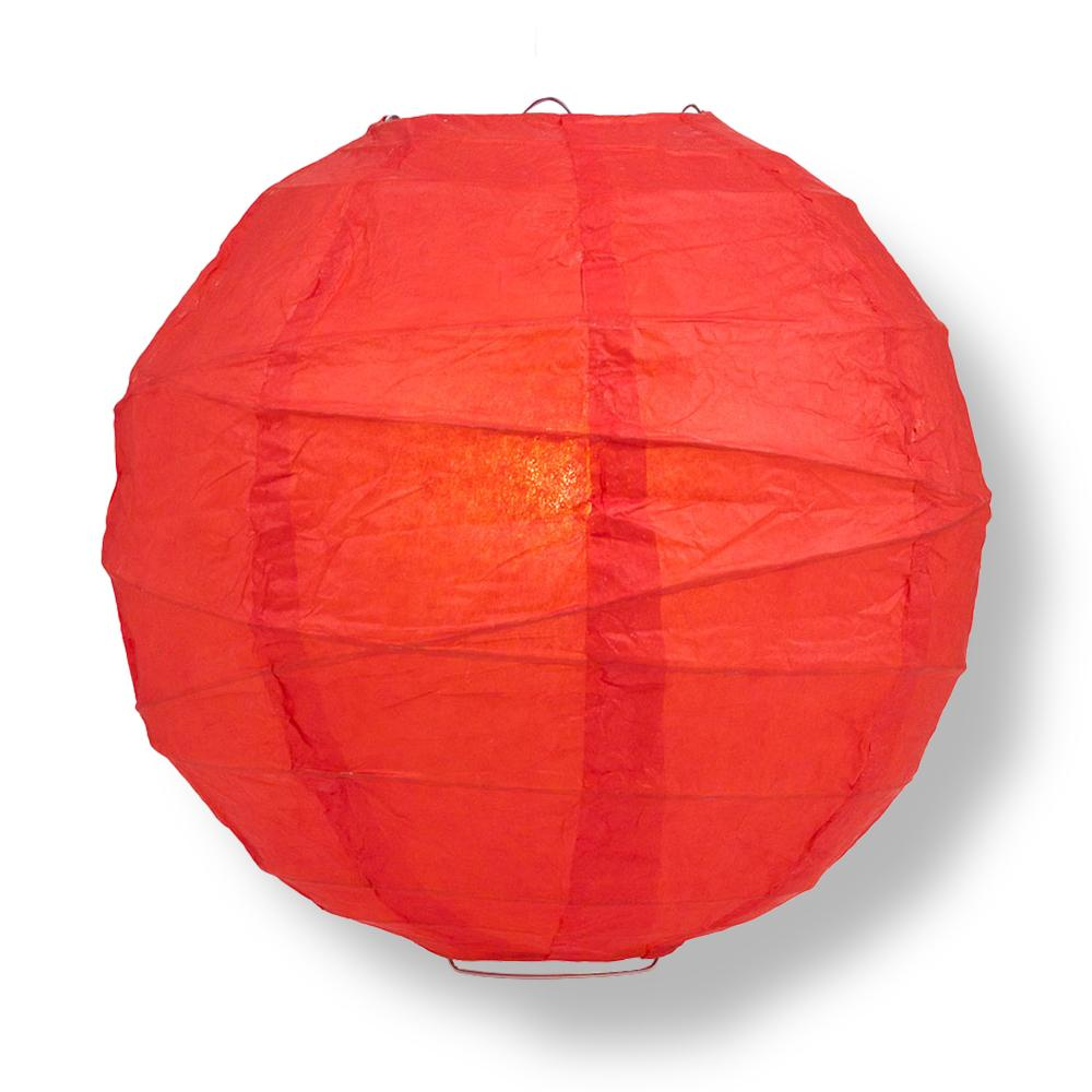 "8"" Red Round Paper Lantern, Crisscross Ribbing, Chinese Hanging Wedding & Party Decoration"
