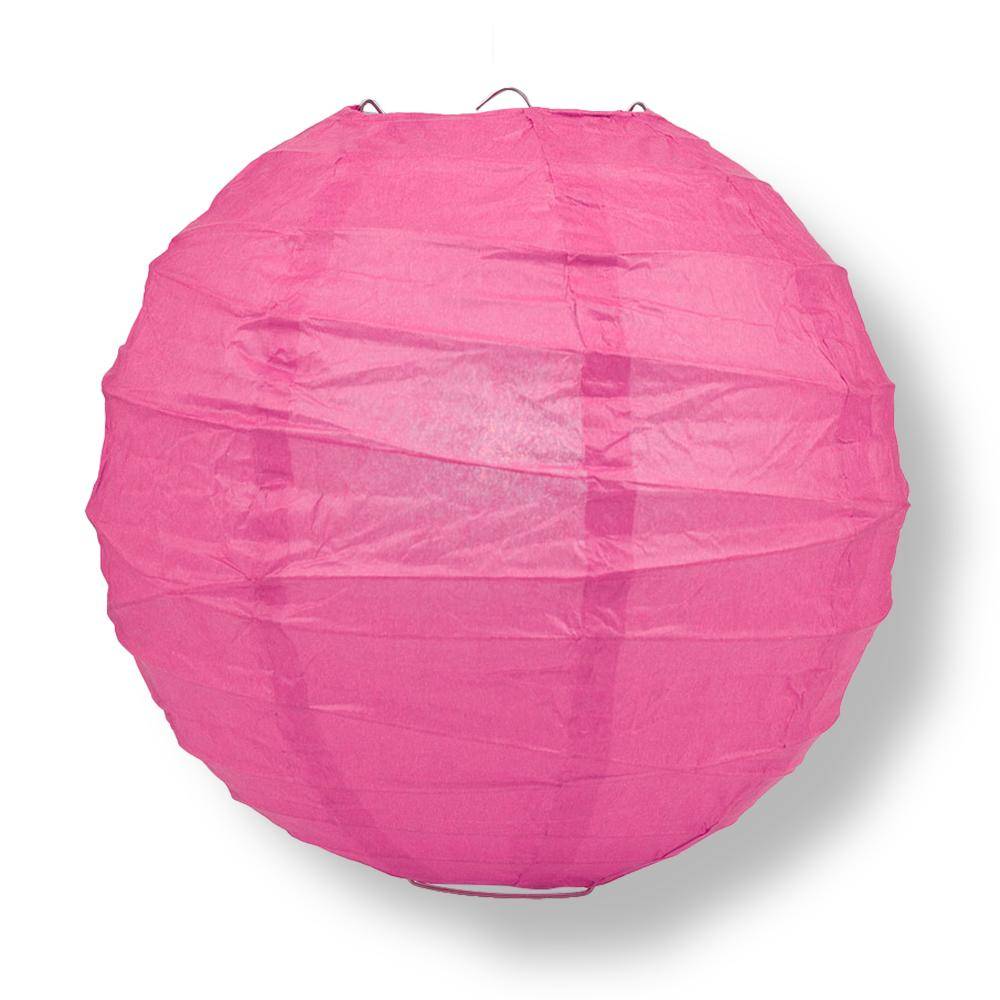"8"" Fuchsia / Hot Pink Round Paper Lantern, Crisscross Ribbing, Chinese Hanging Wedding & Party Decoration - PaperLanternStore.com - Paper Lanterns, Decor, Party Lights & More"