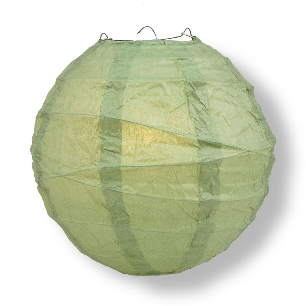 "10"" Sea Green Round Paper Lantern, Crisscross Ribbing, Chinese Hanging Wedding & Party Decoration"