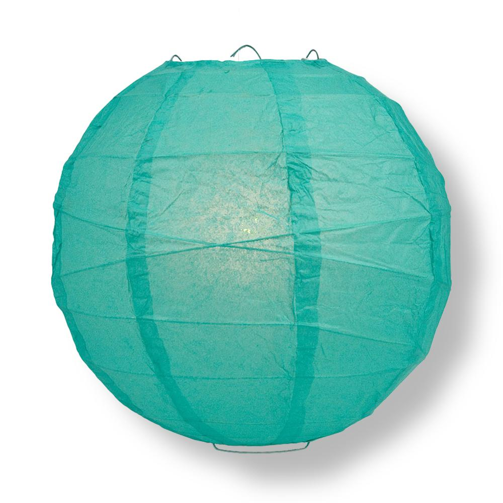 "14"" Teal Green Round Paper Lantern, Crisscross Ribbing, Chinese Hanging Wedding & Party Decoration"
