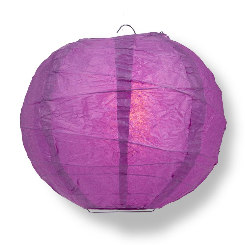 "8"" Violet / Orchid Round Paper Lantern, Crisscross Ribbing, Chinese Hanging Wedding & Party Decoration"