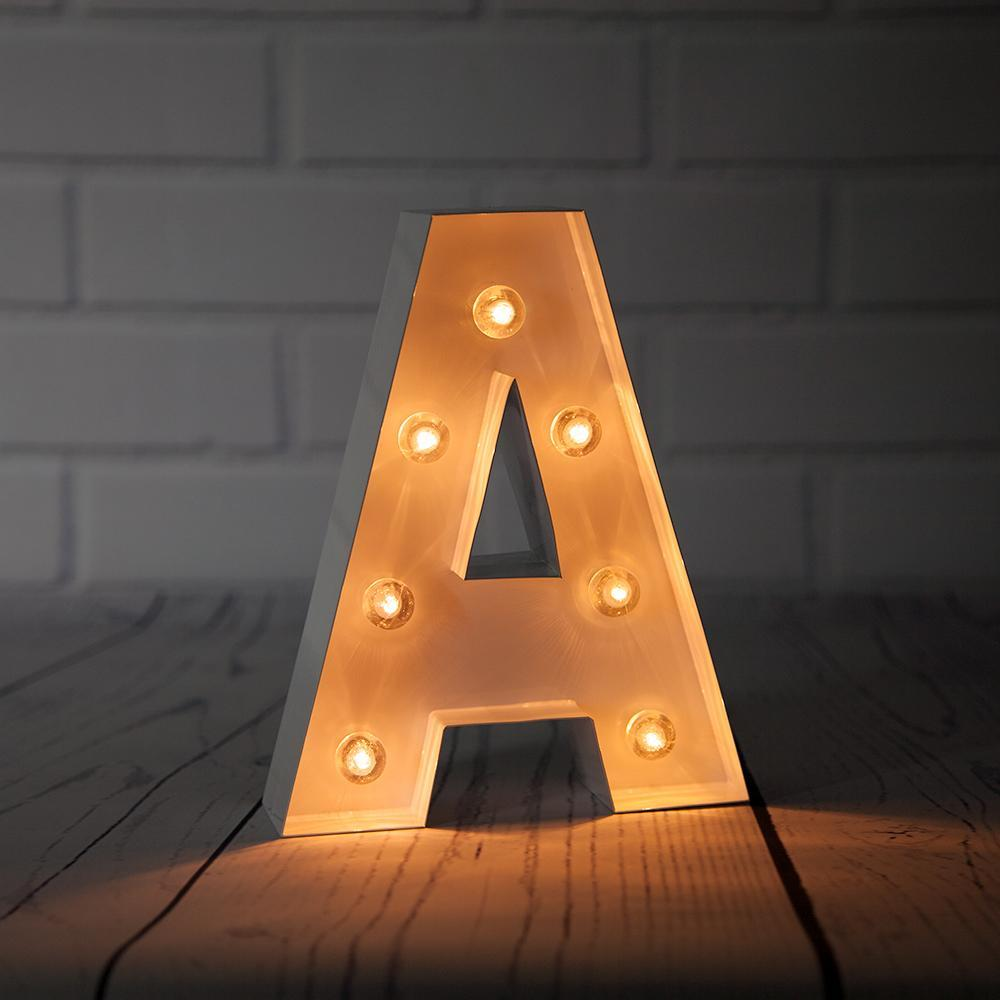 BLOWOUT White Marquee Light Letter 'A' LED Metal Sign (8 Inch, Battery Operated w/ Timer) - PaperLanternStore.com - Paper Lanterns, Decor, Party Lights & More
