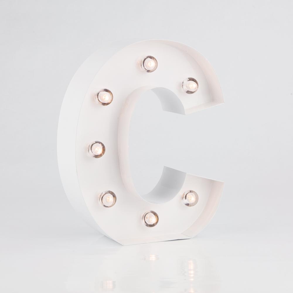 BLOWOUT White Marquee Light Letter 'C' LED Metal Sign (8 Inch, Battery Operated w/ Timer) - PaperLanternStore.com - Paper Lanterns, Decor, Party Lights & More