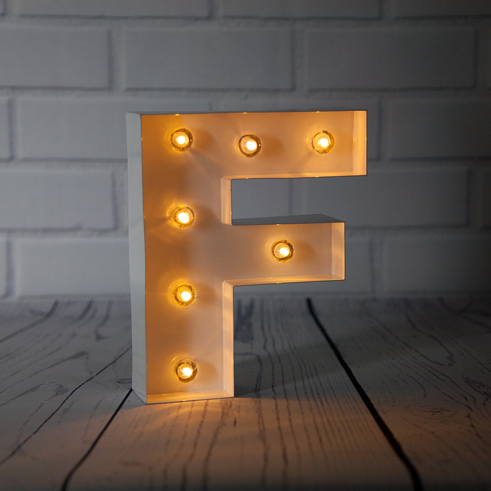 White Marquee Light Letter 'F' LED Metal Sign (8 Inch, Battery Operated w/ Timer) - PaperLanternStore.com - Paper Lanterns, Decor, Party Lights & More
