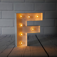 BLOWOUT White Marquee Light Letter 'F' LED Metal Sign (8 Inch, Battery Operated w/ Timer)