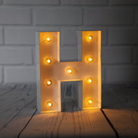 White Marquee Light Letter 'H' LED Metal Sign (8 Inch, Battery Operated w/ Timer)